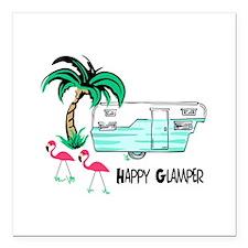 "HAPPY GLAMPER Square Car Magnet 3"" x 3"""
