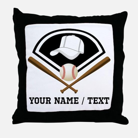 Custom Name/Text Baseball Gear Throw Pillow