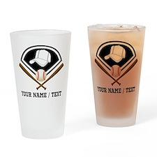 Custom Name/Text Baseball Gear Drinking Glass