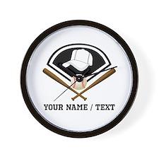 Custom Name/Text Baseball Gear Wall Clock