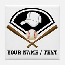 Custom Name/Text Baseball Gear Tile Coaster