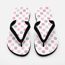 Pink Gray Polka Dots Flip Flops