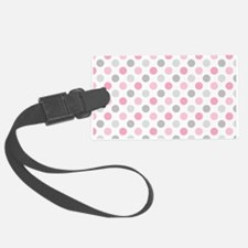 Pink Gray Polka Dots Luggage Tag