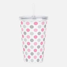 Pink Gray Polka Dots Acrylic Double-wall Tumbler