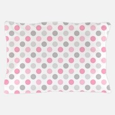Pink Gray Polka Dots Pillow Case