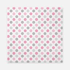 Pink Gray Polka Dots Queen Duvet