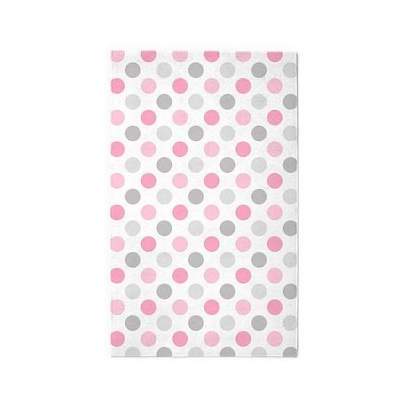 pink gray polka dots area rug by pinkinkart2. Black Bedroom Furniture Sets. Home Design Ideas
