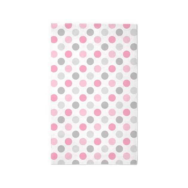 Pink Gray Polka Dots Area Rug By PinkInkArt2