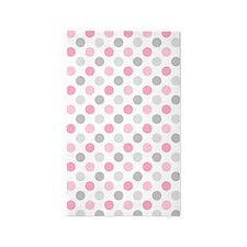 Pink Gray Polka Dots Area Rug