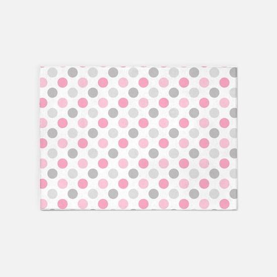 Pink Gray Polka Dots 5'x7'Area Rug