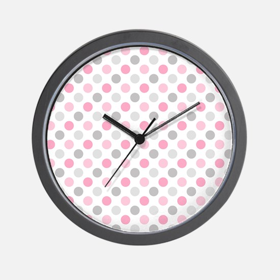 Pink Gray Polka Dots Wall Clock