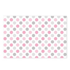 Pink Gray Polka Dots Postcards (Package of 8)