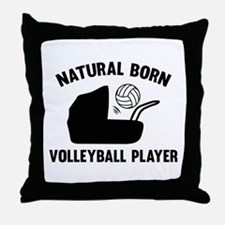 Natural Born Volleyball Player Throw Pillow