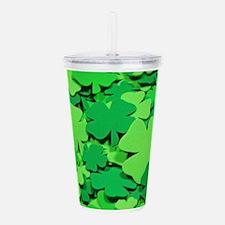 Lucky green clovers Acrylic Double-wall Tumbler