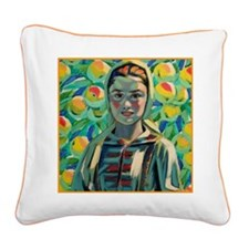Peasant Girl Square Canvas Pillow