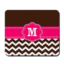 Brown Pink Chevron Monogram Mousepad