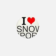 I Love Snow Sports Mini Button