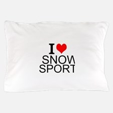I Love Snow Sports Pillow Case