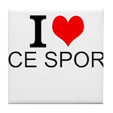 I Love Ice Sports Tile Coaster