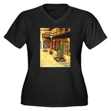 Cool Quaint Women's Plus Size V-Neck Dark T-Shirt