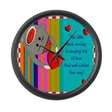 Sock Monkey Sick Child Large Wall Clock
