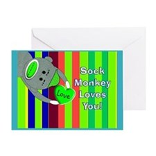 Sock Monkey Sick Child Greeting Cards