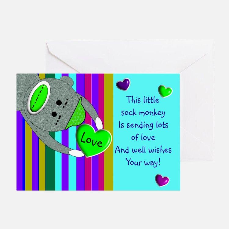 Sock Monkey Sick Child Greeting Cards