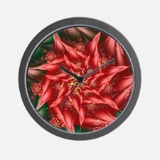 Fractal Poinsetta Blanket Wall Clock