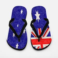 Vintage ink Australian Flag. Flip Flops