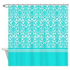 Blue White Damask Shower Curtain