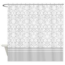 White Gray Damask Shower Curtain