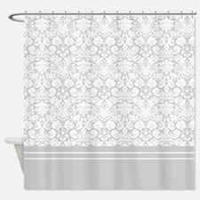 White Gray Damask Shower Curtain