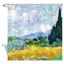 Van Gogh Wheat Field Cypresses Shower Curtain