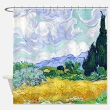 Van Gogh Wheat Field Cypresses Shower Curtain