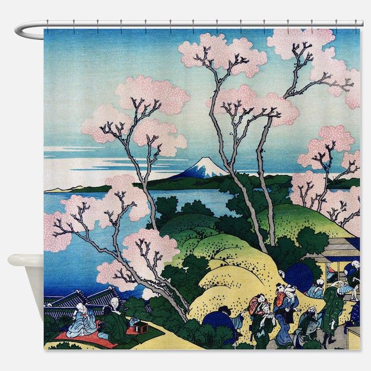 Hokusai Goten Yama Shower Curtain