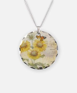 Sunflowers and butterflies Necklace
