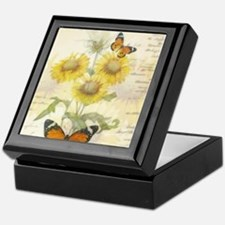 Sunflowers and butterflies Keepsake Box