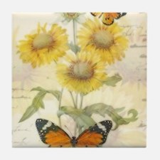 Sunflowers and butterflies Tile Coaster