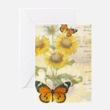 Sunflowers and butterflies Greeting Cards