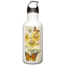 Sunflowers and butterf Water Bottle