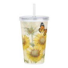 Sunflowers and butterf Acrylic Double-wall Tumbler
