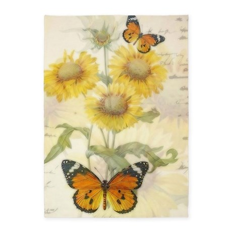 Sunflowers And Butterflies 5 X7 Area Rug By Ibeleiveimages