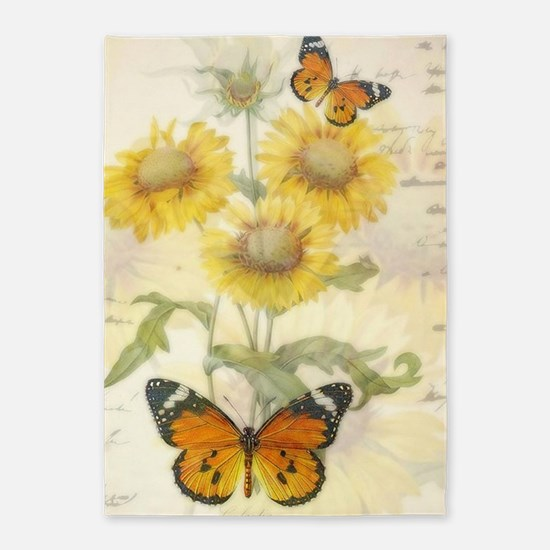 Sunflowers and butterflies 5'x7'Area Rug