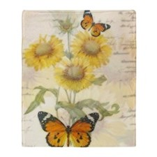 Sunflowers and butterflies Throw Blanket
