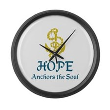 HOPE ANCHORS THE SOUL Large Wall Clock