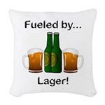 Fueled by Lager Woven Throw Pillow