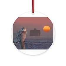 Snowly Owl Barn Scene Ornament (Round)
