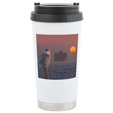 Snowly Owl Barn Scene Travel Mug