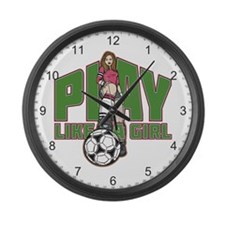 Soccer Play Like a Girl Large Wall Clock