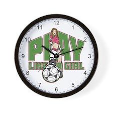 Soccer Play Like a Girl Wall Clock